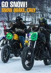 Banner Snow Quake Harley Harley-Davidson Chopper Bobber Scrambler Beefybody WLA Flathead Knucklehead Knuckle Panhead Pan Shovelhead Shovel Ironhead Sportster Sporty Evo Evolution TwinCam Cannonball Parts SnowQuake Snow Quake PanAm Oil Starköl Further Bussei Death Spray Custom Deus Ex Machina Deus Milano George Pickering ice racing Italy, Jacapo Monti Jason Serge Nuques