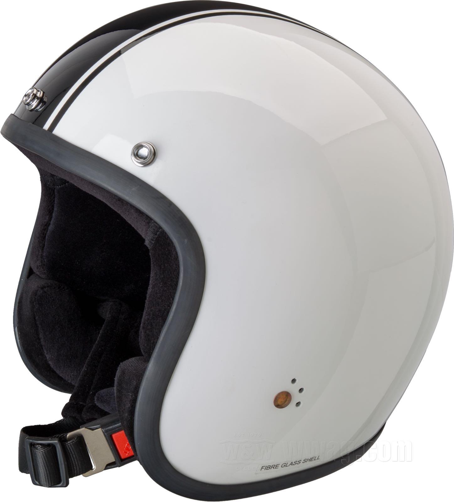 Classic Motorcycle Helmet 54cm Bandit Classic Jet Helmet Color:white black;Size:XS