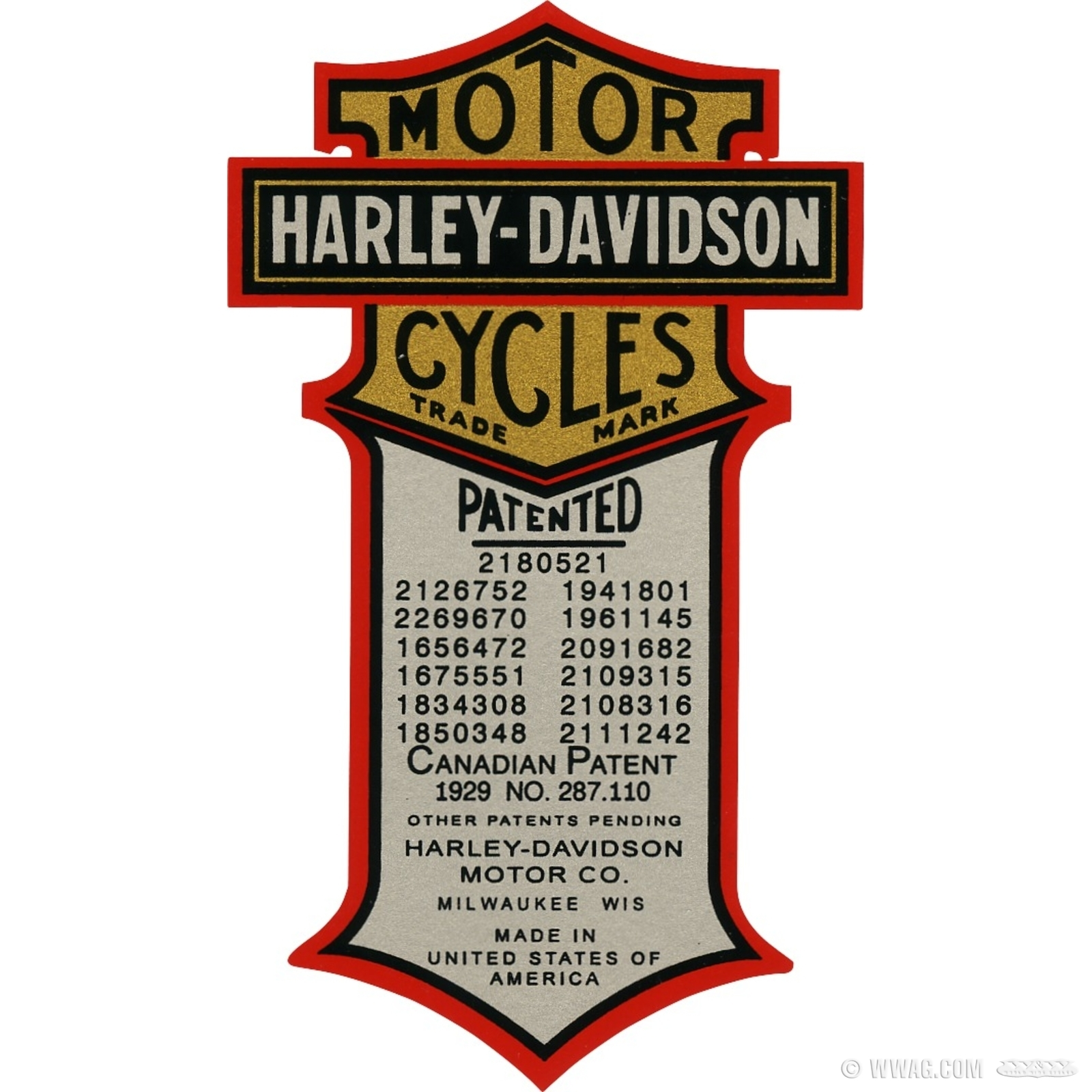 W&W Cycles - Pre-War Parts > Decals - Water Transfers