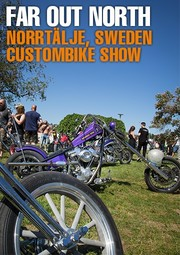 Banner Custom Bike Show Norrtälje Schweden Sweden 2018 Cannonball Bates Parts Harley Davidson Harley-Davidson HD H-D bar shield Bar'n'Shield Chopper Custom Parts Accessories IOE Flathead Knucklehead Panhead Shovelhead Sportster Paint Rigid 70s Vintage Oldschool Twin Club AMD Championship Finland